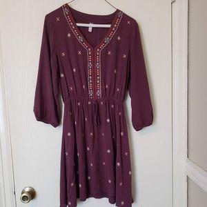 Xhilaration Purple/Maroon Embroidered Shirtdress